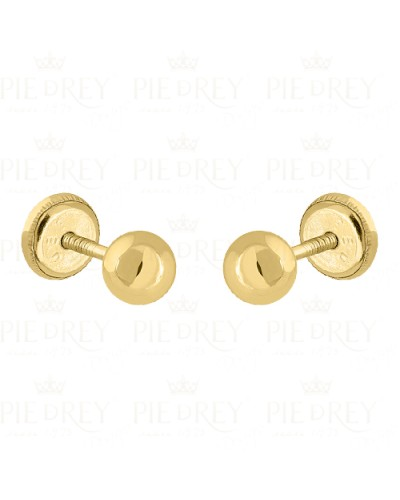Earrings Plain Ball in Gold