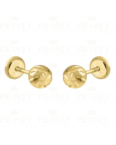 Earrings Carved Ball in Gold