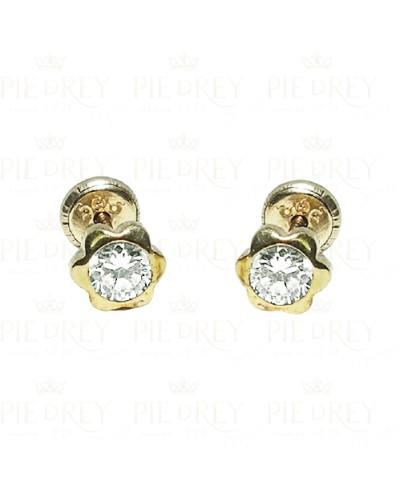 Earrings Daisy Zircon in Gold