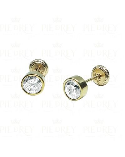 Earrings Round Zircon in Gold
