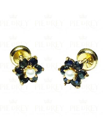 Earrings Rosette Cubic Zircon in Gold