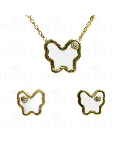 Set Earrings + Pendant with chain in Gold
